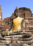 Buddha at the temple of Wat Mahatat in Ayutthaya near Bangkok, Thailand.