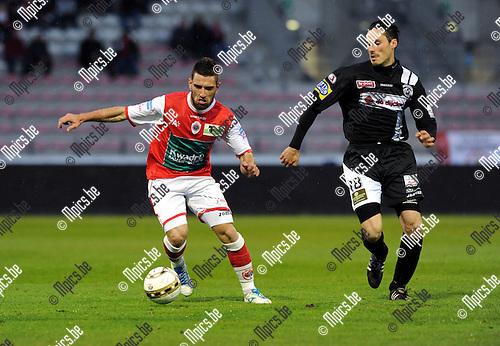 2012-04-20 / Voetbal / seizoen 2011-2012 / R. Antwerp FC - Eendracht Aalst / Bruno Carvalho (L, Antwerp) met Sam Crispijn..Foto: Mpics.be