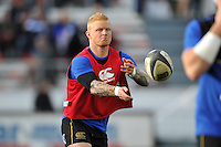 Tom Homer of Bath Rugby passes the ball during the pre-match warm-up. European Rugby Champions Cup match, between RC Toulon and Bath Rugby on January 10, 2016 at the Stade Mayol in Toulon, France. Photo by: Patrick Khachfe / Onside Images