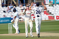 Simon Harmer of Essex celebrates taking the wicket of Keith Barker during Essex CCC vs Warwickshire CCC, Specsavers County Championship Division 1 Cricket at The Cloudfm County Ground on 21st June 2017