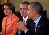 United States President Barack Obama meets with bipartisian congressional leadership in the Old Family Dining Room of the White House in Washington, D.C. on Friday, November 7, 2014. From left to right: U.S. House Minority Leader Nancy Pelosi (Democrat of California), Speaker of the U.S. House John Boehner (Republican of Ohio), and President Obama.<br /> Credit: Dennis Brack / Pool via CNP