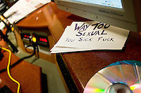 NEW YORK - APRIL 19: A hand written card lies on the studio console inside the Maxim Radio studio at Sirius Headquarters on April 19, 2005 in New York City. (Photo by Landon Nordeman)