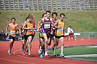 Jack Beaumont 424 and Marcus Karamanolis 585 in action during the Athletics - NZ Track and Field Championships at Newtown Park, Newtown, New Zealand on Friday 6 March 2015. <br /> Photo by Masanori Udagawa. <br /> www.photowellington.photoshelter.com.
