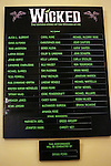 Lobby Cast Board  during the 10th Anniversary on Broadway Curtain Call for 'Wicked'  at the Gershwin Theatre on October 30, 2013  in New York City.
