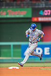 15 June 2016: Chicago Cubs second baseman Ben Zobrist rounds the bases after hitting a home run against the Washington Nationals at Nationals Park in Washington, DC. The Cubs fell to the Nationals 5-4 in 12 innings in the rubber match of their 3-game series. Mandatory Credit: Ed Wolfstein Photo *** RAW (NEF) Image File Available ***