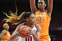 NWA Democrat-Gazette/J.T. WAMPLER Arkansas' Kiara Williams tries to get past Tennessee's Mercedes Russell Thursday Feb. 8, 2018 at Bud Walton Arena in Fayetteville. The Razorbacks lost 90-85.