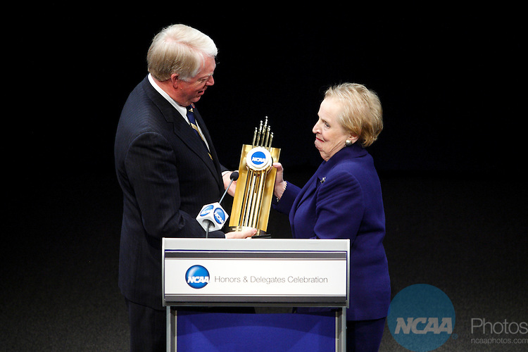 2009 Jan 15: Former Secretary of State and Wellesly College graduate Madeline Albright receives the Theodore Roosevelt Award from University of Georgia President Michael Adams during the 2009 NCAA Honors Celebration at the Newseum in Washington D.C.  ©Trevor Brown, Jr./NCAA Photos.
