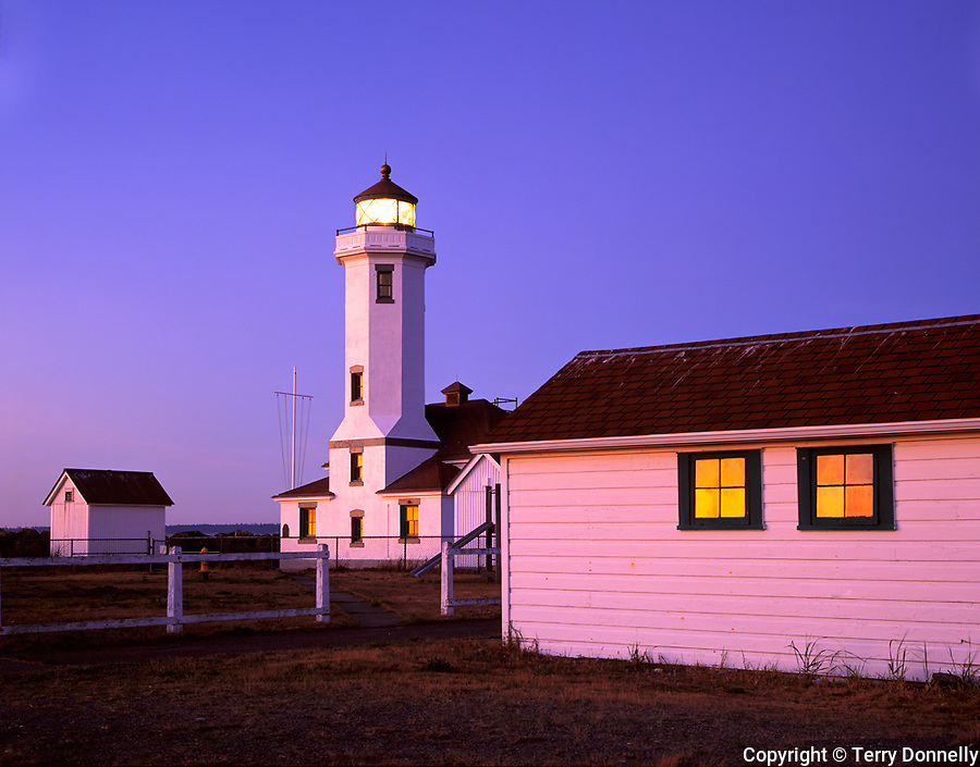 Jefferson County, WA      <br /> Colors of the sky at dusk reflecting on Point Wilson Lighthouse, Fort Worden State Park, Quimper Peninsula, Puget Sound