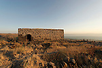 The Golan Heights. Hurvat Kanaf, remains of a Jewish village from the 6th century overlooking the Sea of Galilee. the 19th century structure built on the foundations of the ancient Synagogue