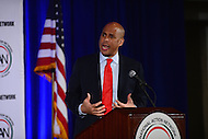 Washington, DC - January 16, 2017: U.S. Senator Corey Booker speaks to attendees of the annual Martin Luther King Holiday Breakfast, sponsored by the National Action Network, at the Mayflower Hotel in the District of Columbia, January 16, 2017.  (Photo by Don Baxter/Media Images International)