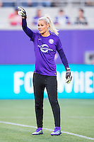Orlando, Florida - Saturday, April 23, 2016: Orlando Pride goalkeeper Ashlyn Harris (1) prior to the start of an NWSL match between Orlando Pride and Houston Dash at the Orlando Citrus Bowl.