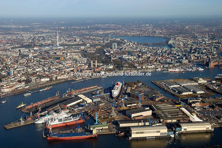 4415/ Blohm und Voss: EUROPA, DEUTSCHLAND, HAMBURG, (EUROPE, GERMANY), 14.11.2005:Die deutsche Werft Blohm und Voss ist ein Tochterunternehmen  der ThyssenKrupp AG. Man hat sich heute auf Marineschiffe, schnelle Faehr- und Passagierschiffe sowie Mega-Yachten spezialisiert. Gelegen an der Elbe suedlich des Stadtzentrum von Hamburg.