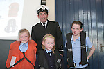 Aoibhin McCleary, Charlotte O'Neill and Amy Lee Kessie with Paul O'Neill from the Coastguard when the Coastguard visited Marymount NS to give a talk about Water Safety...Photo NEWSFILE/Jenny Matthews.(Photo credit should read Jenny Matthews/NEWSFILE)....This Picture has been sent you under the condtions enclosed by:.Newsfile Ltd..The Studio,.Millmount Abbey,.Drogheda,.Co Meath..Ireland..Tel: +353(0)41-9871240.Fax: +353(0)41-9871260.GSM: +353(0)86-2500958.email: pictures@newsfile.ie.www.newsfile.ie.FTP: 193.120.102.198.