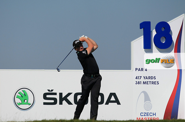 Paul Dunne (IRL) on the 18th tee during Round 2 of the D&amp;D Real Czech Masters 2016 at the Albatross Golf Club, Prague on Friday 19th August 2016.<br /> Picture:  Thos Caffrey / www.golffile.ie<br /> <br /> All photos usage must carry mandatory copyright credit   (&copy; Golffile | Thos Caffrey)