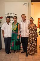"""De izquierda a derecha el escultor mexicano Rivelino, la pintora mexicana Marcela Lobo, Ruben Dreijanski, Nancy Reyes durante la exposicion de Marcela Lobo """"Cuerpos Vibrantes"""" en el museo MACAY de Merida Yucatan el 19 de Julio del 2013.<br /> Foto: Mauricio Palos /NortePhoto"""
