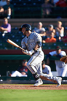 Surprise Saguaros outfielder Michael Reed (25) at bat during an Arizona Fall League game against the Scottsdale Scorpions on October 22, 2015 at Scottsdale Stadium in Scottsdale, Arizona.  Surprise defeated Scottsdale 7-6.  (Mike Janes/Four Seam Images)
