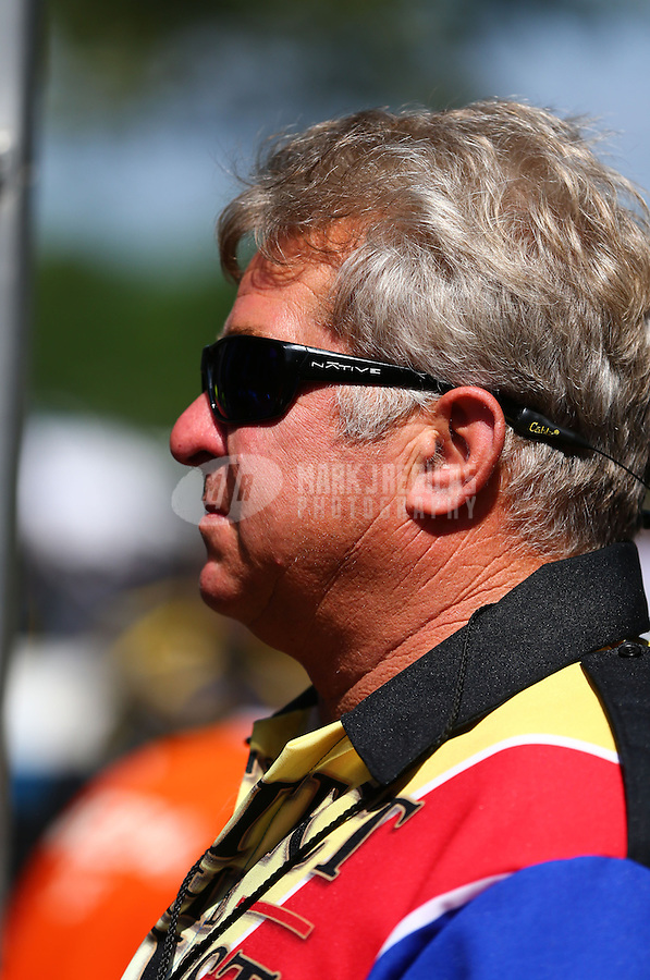 Jun. 2, 2013; Englishtown, NJ, USA: NHRA pro stock driver Rodger Brogdon during the Summer Nationals at Raceway Park. Mandatory Credit: Mark J. Rebilas-