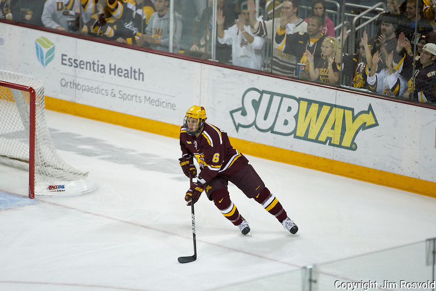 14 Oct 11: Jake Parenteau (Minnesota - 6)  The University of Minnesota-Duluth Bulldogs host the University of Minnesota Golden Gophers in a WCHA matchup at Amsoil Arena in Duluth, MN.