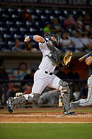 Pensacola Blue Wahoos catcher Ryan Jeffers (8) throws down to second base during a Southern League game against the Mobile BayBears on July 25, 2019 at Blue Wahoos Stadium in Pensacola, Florida.  Pensacola defeated Mobile 3-2 in the second game of a doubleheader.  (Mike Janes/Four Seam Images)