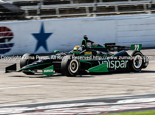 Oriol Servia (22) driver of the Panther/Dreyer & Reinbold Racing car in action during qualifying for the IZOD Indycar Firestone 550 race at Texas Motor Speedway in Fort Worth,Texas. IZOD Indycar driver Alex Tagliani (98) driver of the Team Barracuda-BHA car qualifies in the top spot during the Firestone 550 race..
