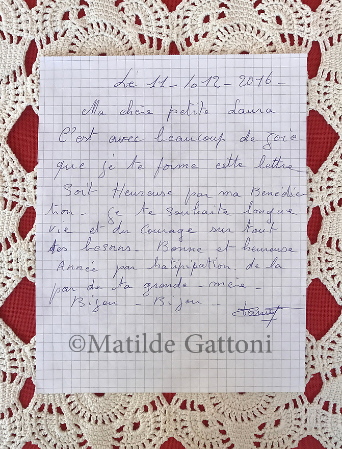 Cameroon - Douala - Emilienne Nana's letter to her niece Laura Keutchakeu.<br /> <br /> 11-12-2016My dear little Laura,I&rsquo;m glad to write this letter to you. Be happy, with my blessings. I wish you a long life and courage for everything. Have a wonderful year. From your grand-mother.Kisses