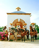 MEXICO, Maya Riviera, Mexican Charros on their horses, Yucatan Peninsula