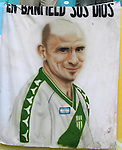 """24 June 2006: Banner of Jose Luis """"Garrafa"""" Sanchez in a Club Atletico Banfield jersey, an Argentina player who died earlier in the year in a motorcycle accident. The banner reads """"En Banfield sos Dios"""" or """"From Banfield to God"""". Argentina (1st place in Group C) defeated Mexico (2nd place in Group D) 2-1 after extra time at the Zentralstadion in Leipzig, Germany in match 50, a Round of 16 game, in the 2006 FIFA World Cup."""