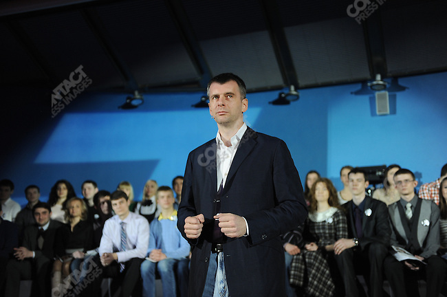 prokpres12-Photo by James Hill/08 February 2012-Mikhail Prokhorov, the billionaire businessman and candidate in the upcoming Russian presidential elections, spoke to and answered questions with a crowd of students and local residents in Sochi at a campaign event.