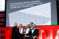 Director Carlos Vermut and the produccers recive the prize: 'Concha de Oro' to the best film for: 'Magical Girl' during the closing ceremony of 62st San Sebastian Film Festival in San Sebastian, Spain. September 27, 2014. (ALTERPHOTOS/Caro Marin) /NortePHOTO.com /nortephoto.com