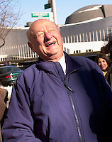 Former NYC Mayor Edward I. Koch joins Jewish community leaders in front of the United Nations on February 1, 2004 in opposing the International Court of Justice's plan to review the legality of Israel's security fence. (© Richard B. Levine)