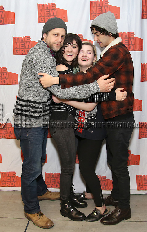 """Joe Tippett, Isabelle Fuhrman, Abigail Breslin, and Alex Wolff attends the New Group's """"All the Fine Boys"""" rehearsal photocall at their rehearsal studio on February 3, 2017 in New York City."""