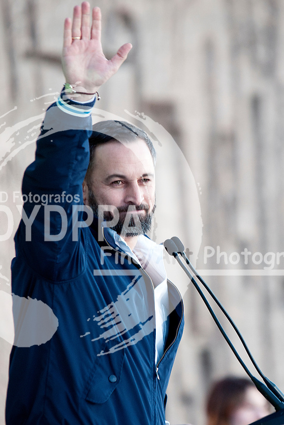 The closing of the campaign of the VOX party, on Sunday the 28th are the general elections, at Plaza de Colon in Madrid on April 26, 2019.<br />