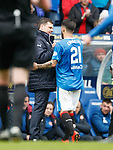 Graeme Murty has a handskahe with Daniel Candeias after subbing him on 89 minutes