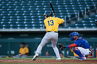 AZL Athletics Gold Shane Selman (13) at bat in front of catcher Richard Nunez (5) during an Arizona League game against the AZL Cubs 1 at Sloan Park on June 20, 2019 in Mesa, Arizona. AZL Athletics Gold defeated AZL Cubs 1 21-3. (Zachary Lucy/Four Seam Images)