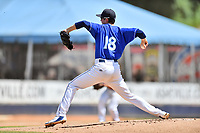 Asheville Tourists starting pitcher Garrett Schilling (18) delivers a pitch during a game against the Rome Braves at McCormick Field on September 3, 2018 in Asheville, North Carolina. The Tourists defeated the Braves 5-4. (Tony Farlow/Four Seam Images)