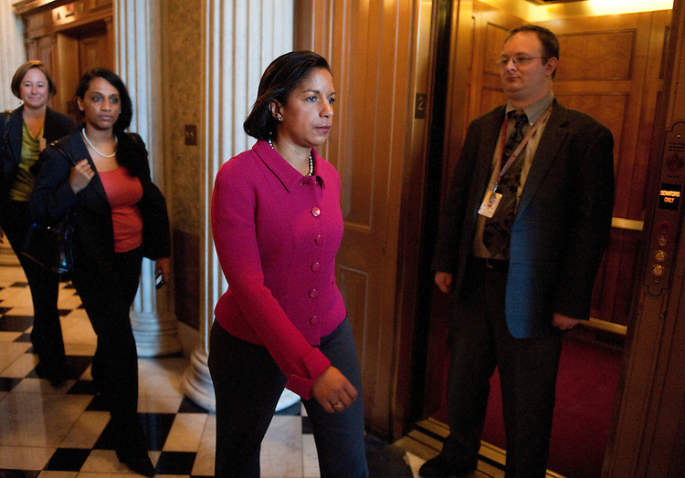 UNITED STATES – NOVEMBER1: U.N. Ambassador Susan Rice leaves the U.S. Capitol building after meeting with Sen. Lindsey Graham, R-S.C., on Tuesday, Nov. 1, 2011. (Photo By Bill Clark/CQ Roll Call)