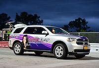 Jan. 17, 2013; Jupiter, FL, USA: Detailed view of the tow vehicle for NHRA top fuel dragster driver Leah Pruett during testing at the PRO Winter Warmup at Palm Beach International Raceway.  Mandatory Credit: Mark J. Rebilas-