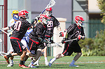 Santa Barbara, CA 04/16/16 - Nolan Crosson (Chapman #20), Gunner Aceves (Chapman #22), Connor  Reilly (Chapman #42) and Alex Dixon (UCSB #18) in action during the final regular MCLA SLC season game between Chapman and UC Santa Barbara.  Chapman defeated UCSB 15-8. in action during the final regular MCLA SLC season game between Chapman and UC Santa Barbara.  Chapman defeated UCSB 15-8.
