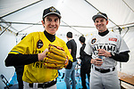 Baseball skills time for Tour de France Champion Geraint Thomas (WAL) Team Sky and Alexander Kristoff (NOR) UAE  at the media day before the 2018 Saitama Criterium, Japan. 3rd November 2018.<br /> Picture: ASO/Pauline Ballet | Cyclefile<br /> <br /> <br /> All photos usage must carry mandatory copyright credit (© Cyclefile | ASO/Pauline Ballet)