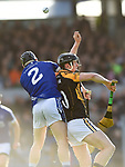 Martin Oige Murphy of Cratloe in action against Pierse Lillis of  Ballyea during the county senior hurling final at Cusack Park. Photograph by John Kelly.