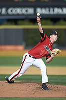 Louisville Cardinals starting pitcher Shay Smiddy (5) delivers a pitch to the plate against the Wake Forest Demon Deacons at David F. Couch Ballpark on March 17, 2018 in  Winston-Salem, North Carolina.  The Cardinals defeated the Demon Deacons 11-6.  (Brian Westerholt/Four Seam Images)