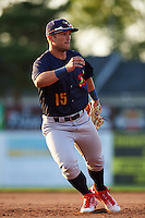 State College Spikes third baseman Danny Hudzina (15) during a game against the Batavia Muckdogs on June 24, 2016 at Dwyer Stadium in Batavia, New York.  State College defeated Batavia 10-3.  (Mike Janes/Four Seam Images)