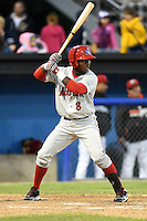 Auburn Doubledays designated hitter Jean Carlos Valdez (8) at bat during a game against the Batavia Muckdogs on June 14, 2014 at Dwyer Stadium in Batavia, New York.  Batavia defeated Auburn 7-2.  (Mike Janes/Four Seam Images)