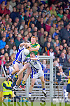 Johnny Buckley awaits the high ball against Waterford last Saturday in Fitzgerald Stadium for the Munster GAA football championship