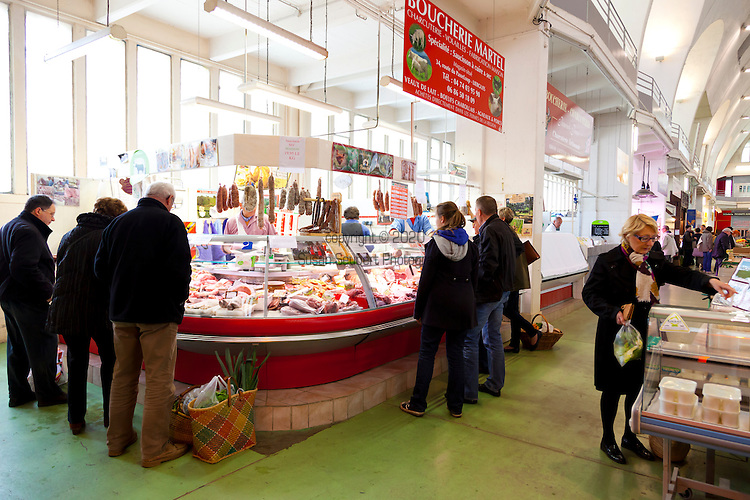 the covered market in Villefranche-sur-Saone, along the wine route in Beaujolais, France