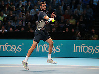 Marin Cilic (CRO) (7) action against  Stan Wawrinka (SUI)(3)  in their John McEnroe  Group  match during Day Four of the Barclays ATP World Tour Finals 2015 played at The O2 Arena, London on November 16th  2016