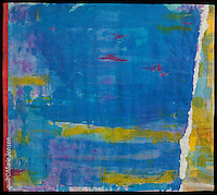 """On The Bay""; Contemporary quilt by artist Marie Jensen, using appliqué, a fusible web and hand painted fabrics. 32""x28"""