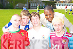 COMPETING: Alex O'Sullivan, PJ Lawlor, Mark O'Donoghue, Patrick Essumbu and Fintan Moore competing at the St Brendan's College Killarney sports day on Friday.