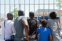 Refugees and illegal immigrants queue for registration papers in Athens. 13-6-12 Each week up to 1,000 people queue at the government facility on Petro Ralli road for up to four days. Only around 20 are issued with papers.