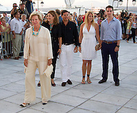 Queen Anne Marie of Greece and Family attend a Cocktail Party at The Poseidonion Hotel, in Spetses, Greece, on the eve of the Wedding of Prince Nikolaos of Greece to Tatiana Blatnik.